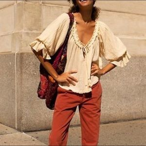 NEW Free People Red Rust Twill Ankle Pants